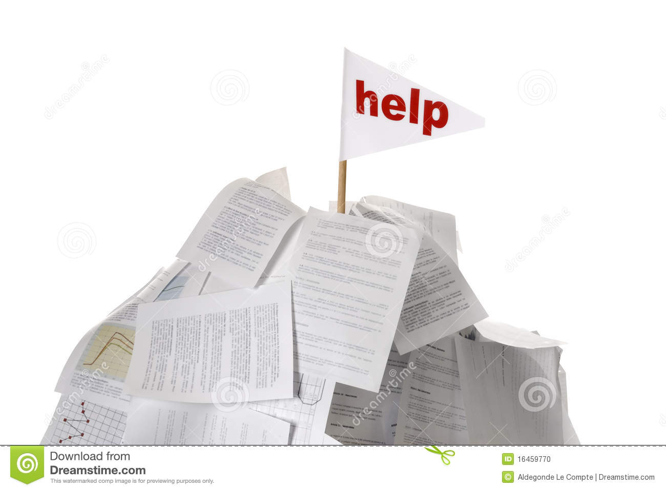 heap of papers help flag sticking out stock photo image heap of papers help flag sticking out