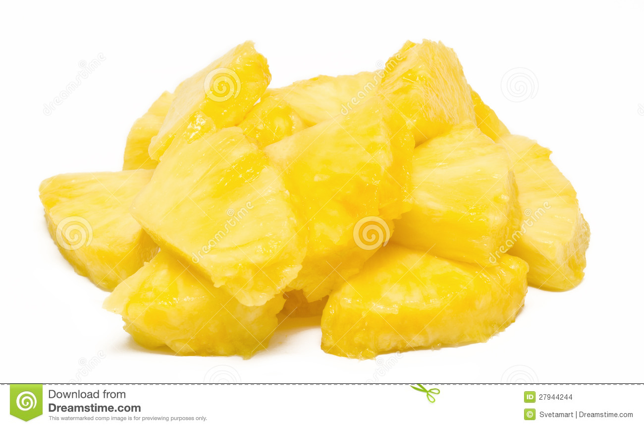 Heap of pineapple chunks isolated