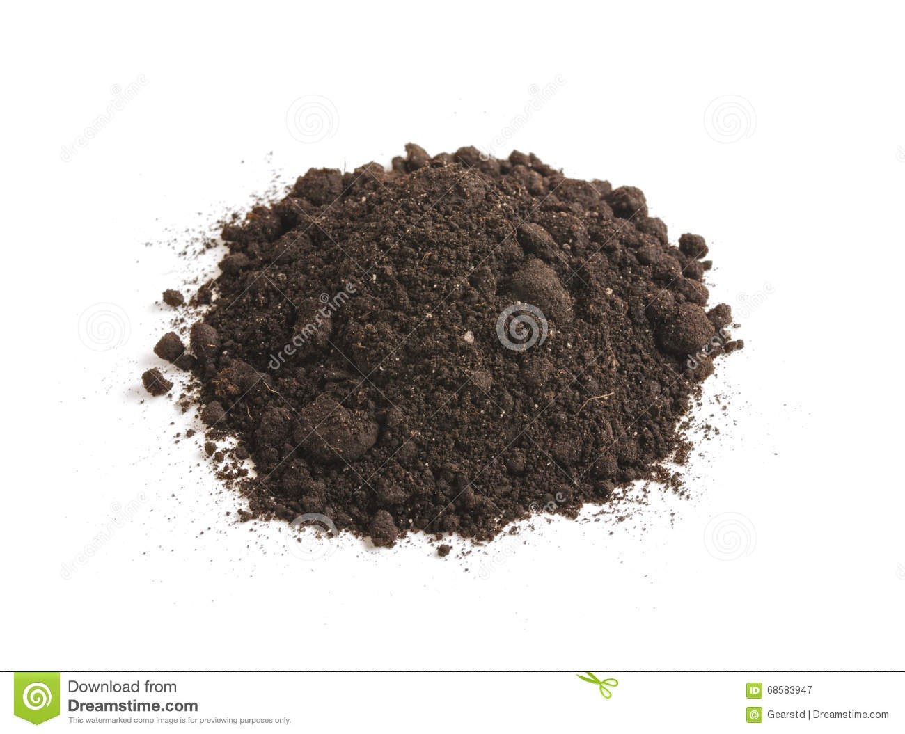 Heap of soil humus isolated on a white background pile for Earth or soil