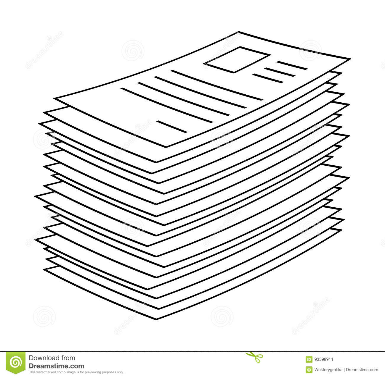 heap  stack of paper document file web icon vector symbol icon d stock vector