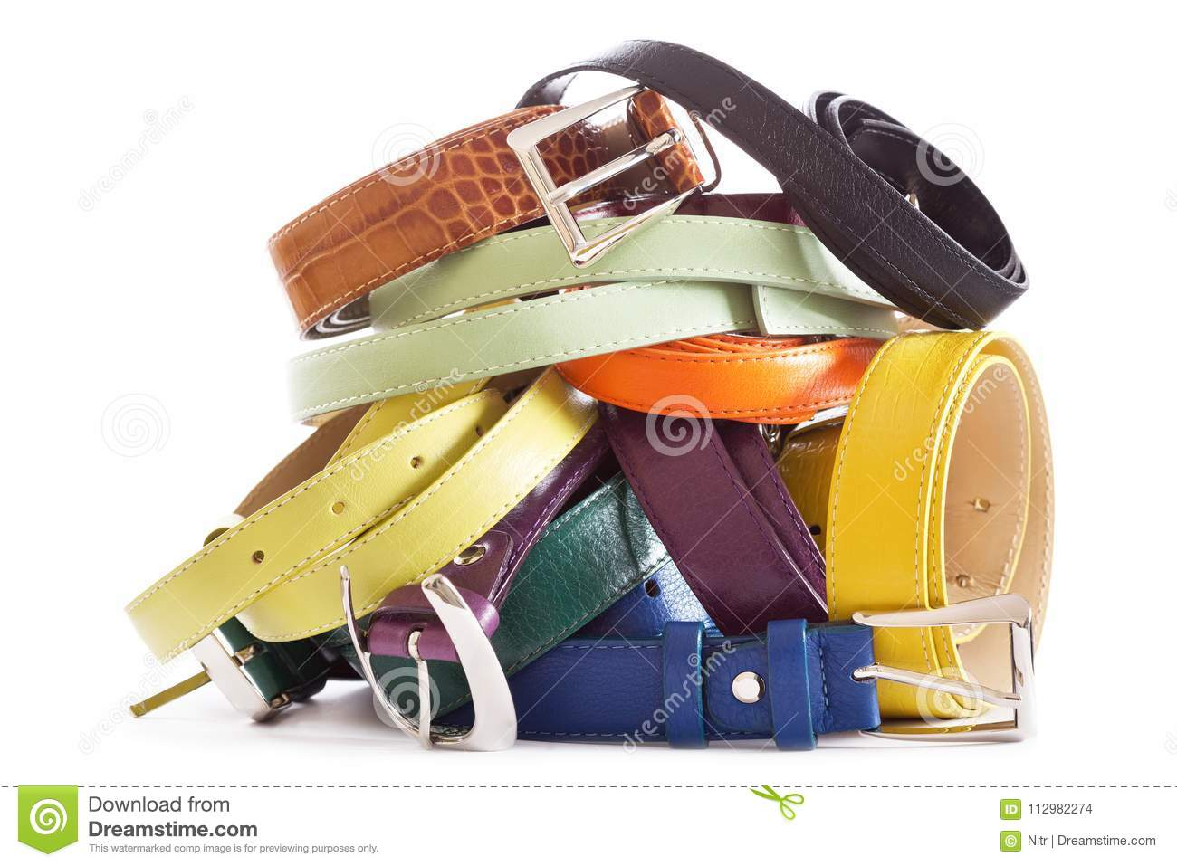 Various types of leather belts isolated on white background