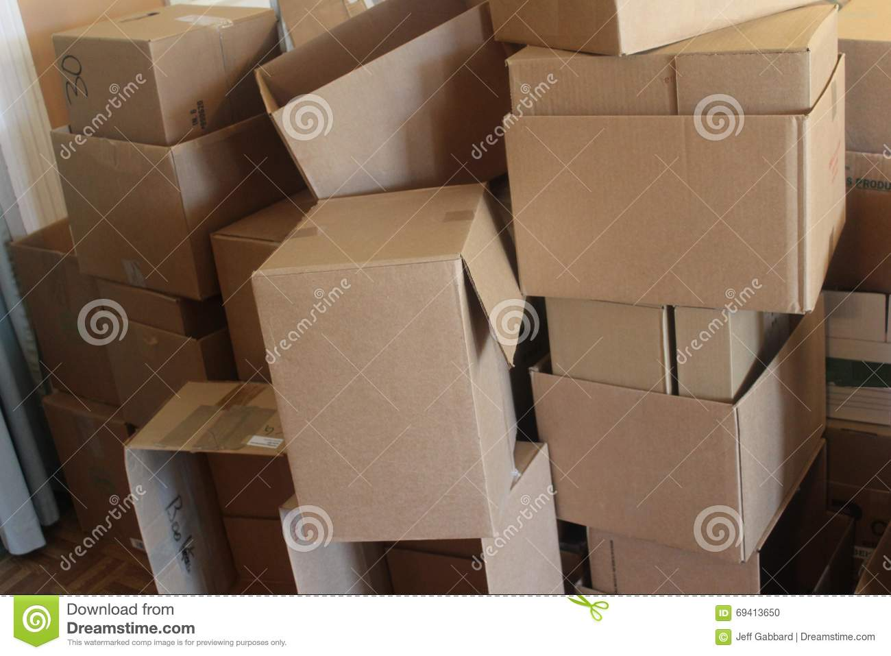 Heaping pile of cardboard boxes
