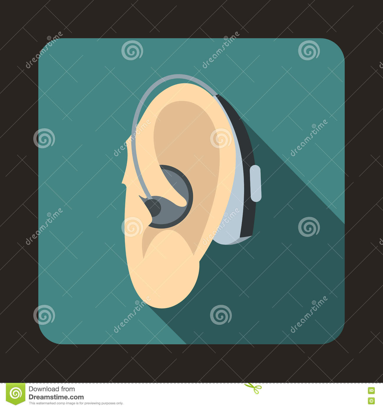Hearing Aid Icon Flat Style Stock Vector Illustration Of Deafness