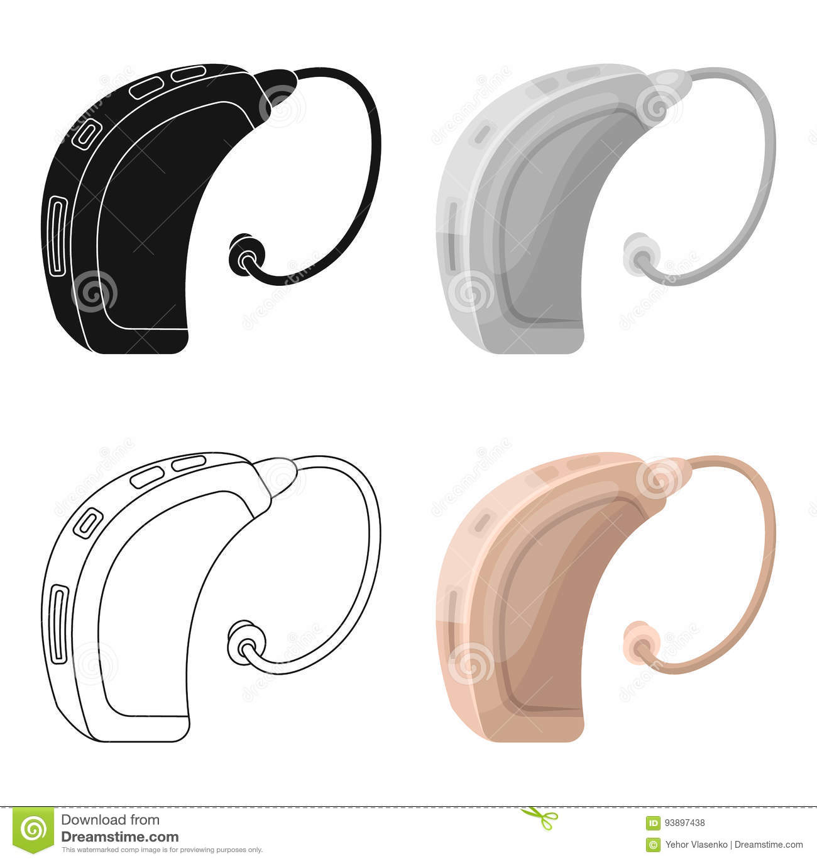 Hearing Aidold Age Single Icon In Cartoon Style Vector Symbol Stock