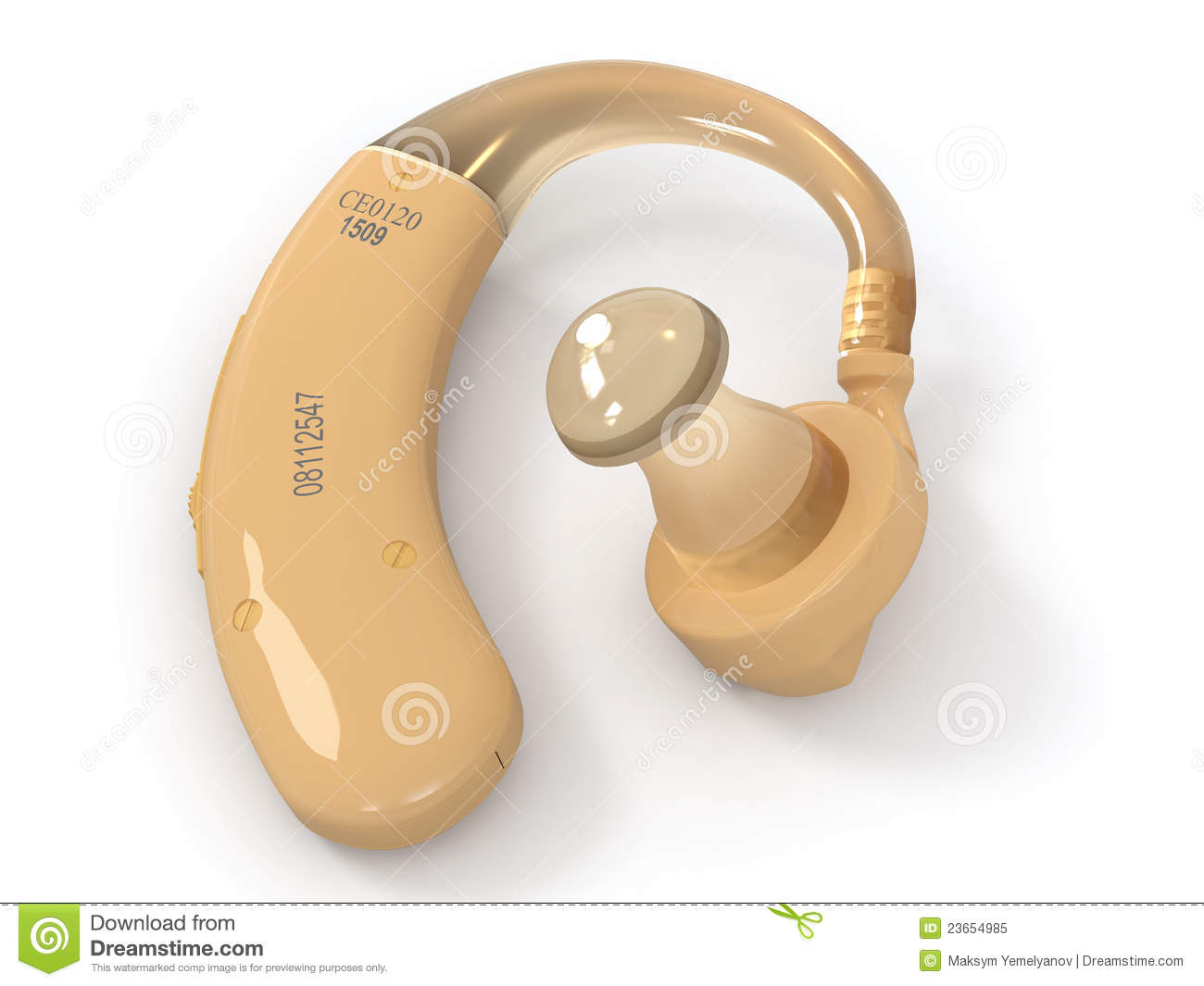Hearing Aid On White Background 3d Royalty Free Stock