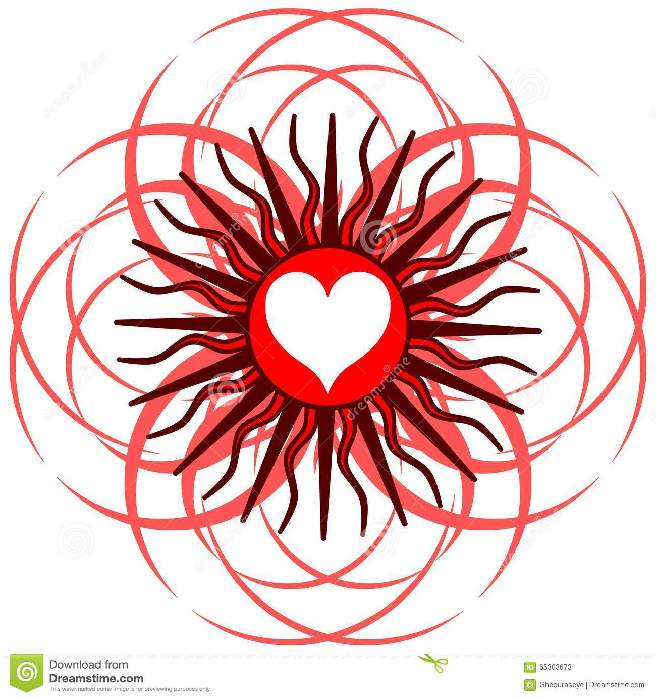 Heart on abstract red decoration isolated stock vector for Abstract decoration