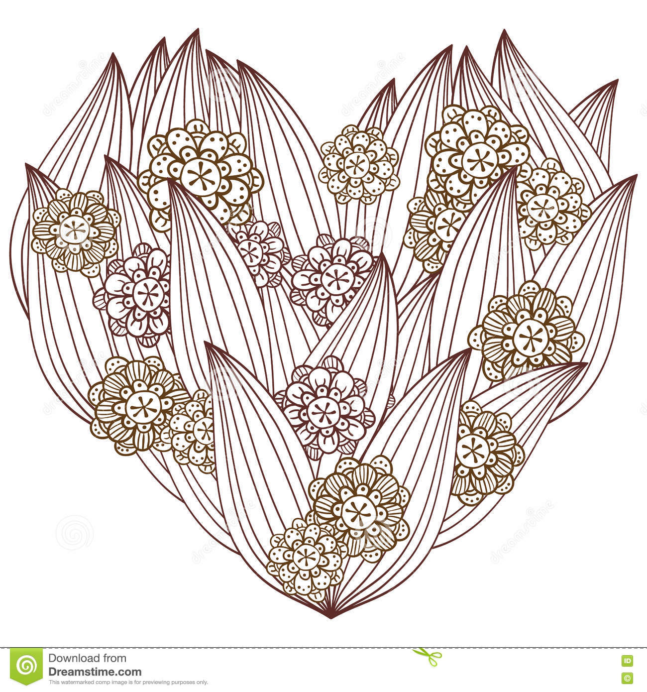 Coloring pages for adults hearts - Heart Adult Coloring Page Whimsical Floral Design
