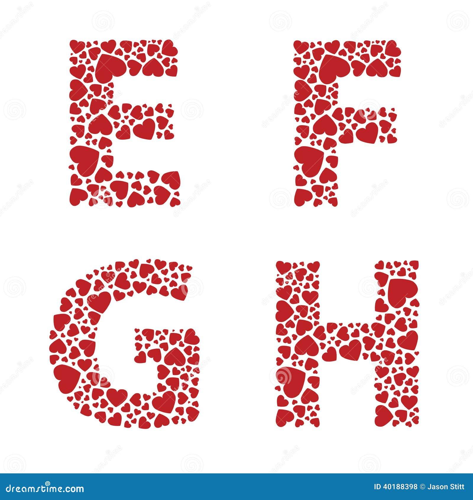 Heart Alphabet Font Stock Vector Image 40188398