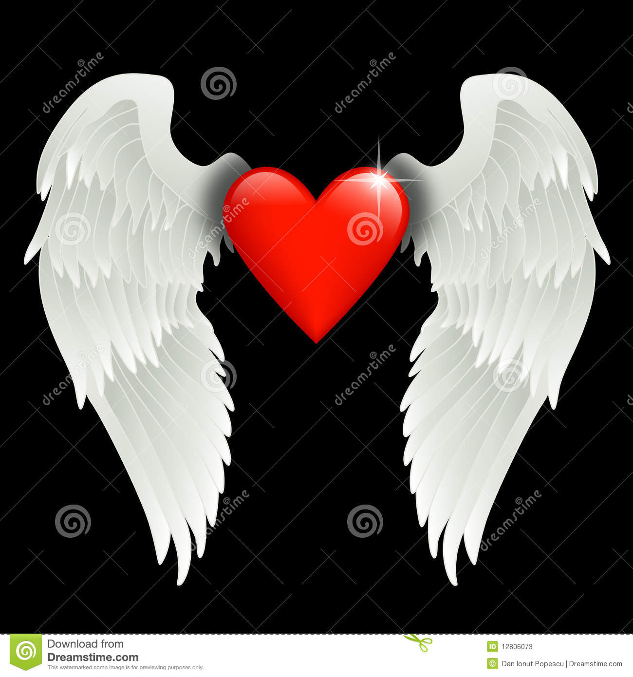 heart with angel wings stock vector illustration of heart 12806073