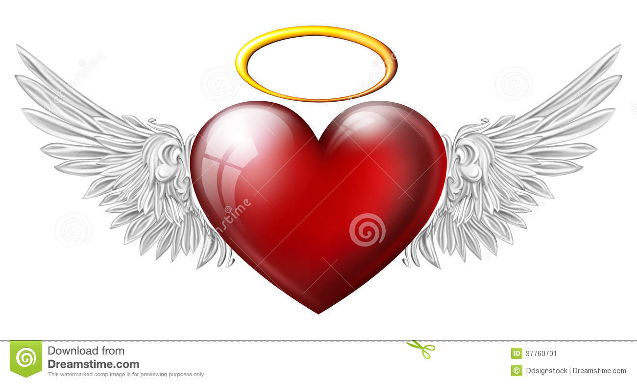 Heart with angel wings stock illustration illustration of - Dessin avec des coeurs ...