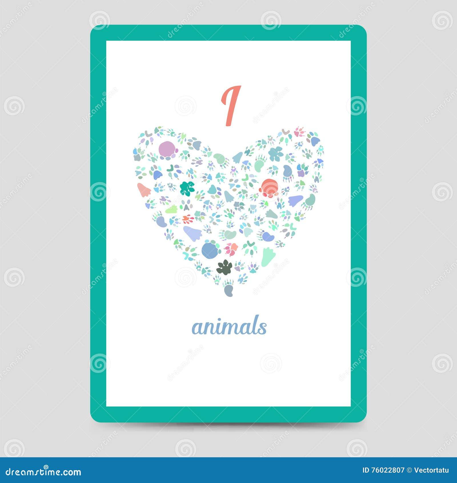 heart from animal footprints card stock vector illustration of
