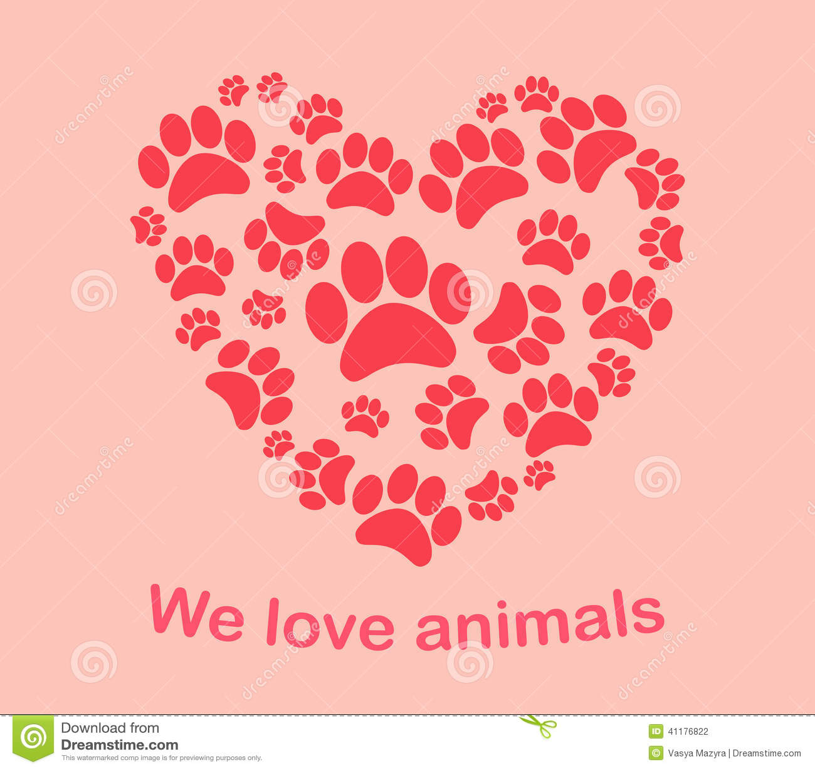 Heart animal s footprints Print we love animals