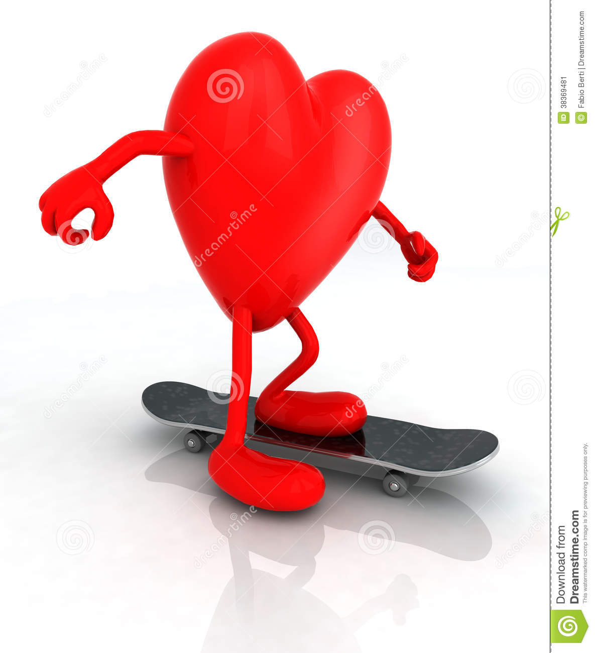 2bdccbef Heart with arms and legs on skateboard, 3d illustration. More similar stock  illustrations