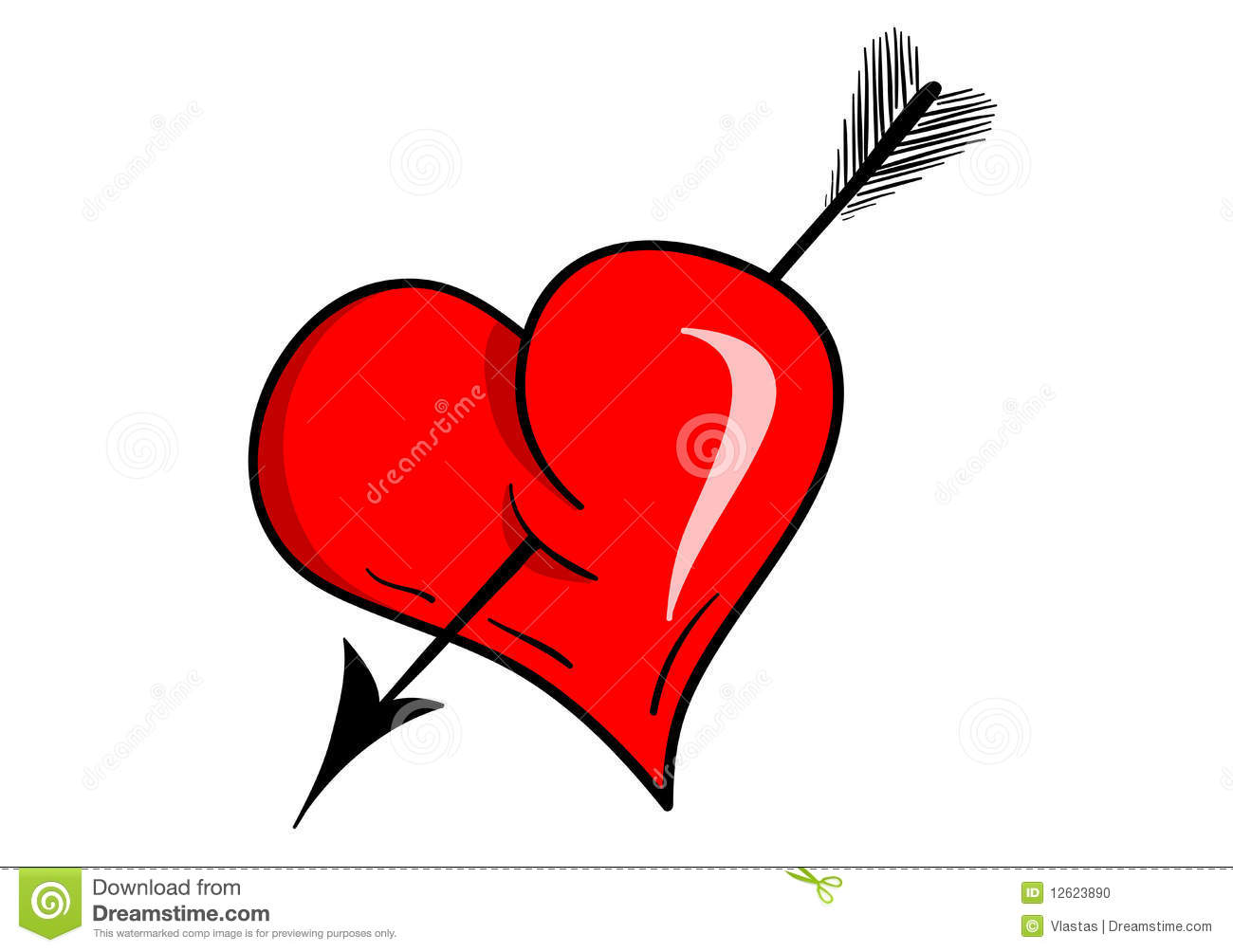 Vector heart with arrow isolated on the white.