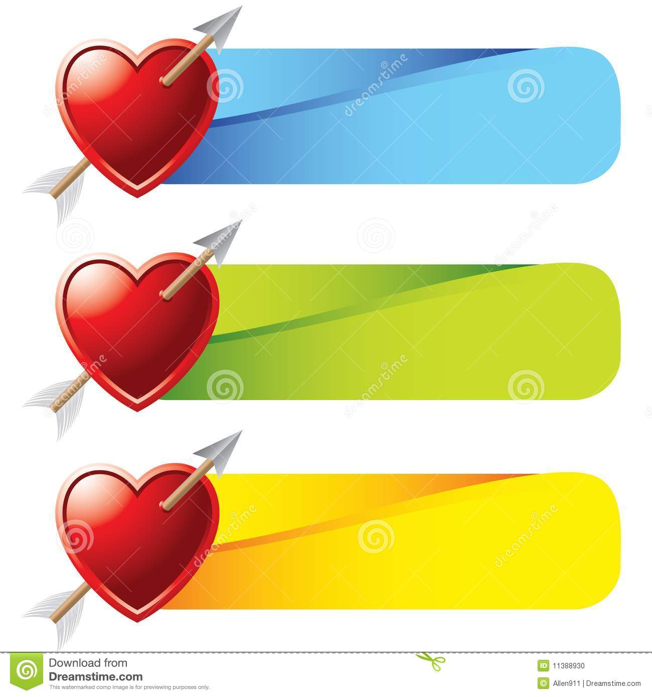 Heart With Arrow On Colored Tabs Stock Vector Illustration Of