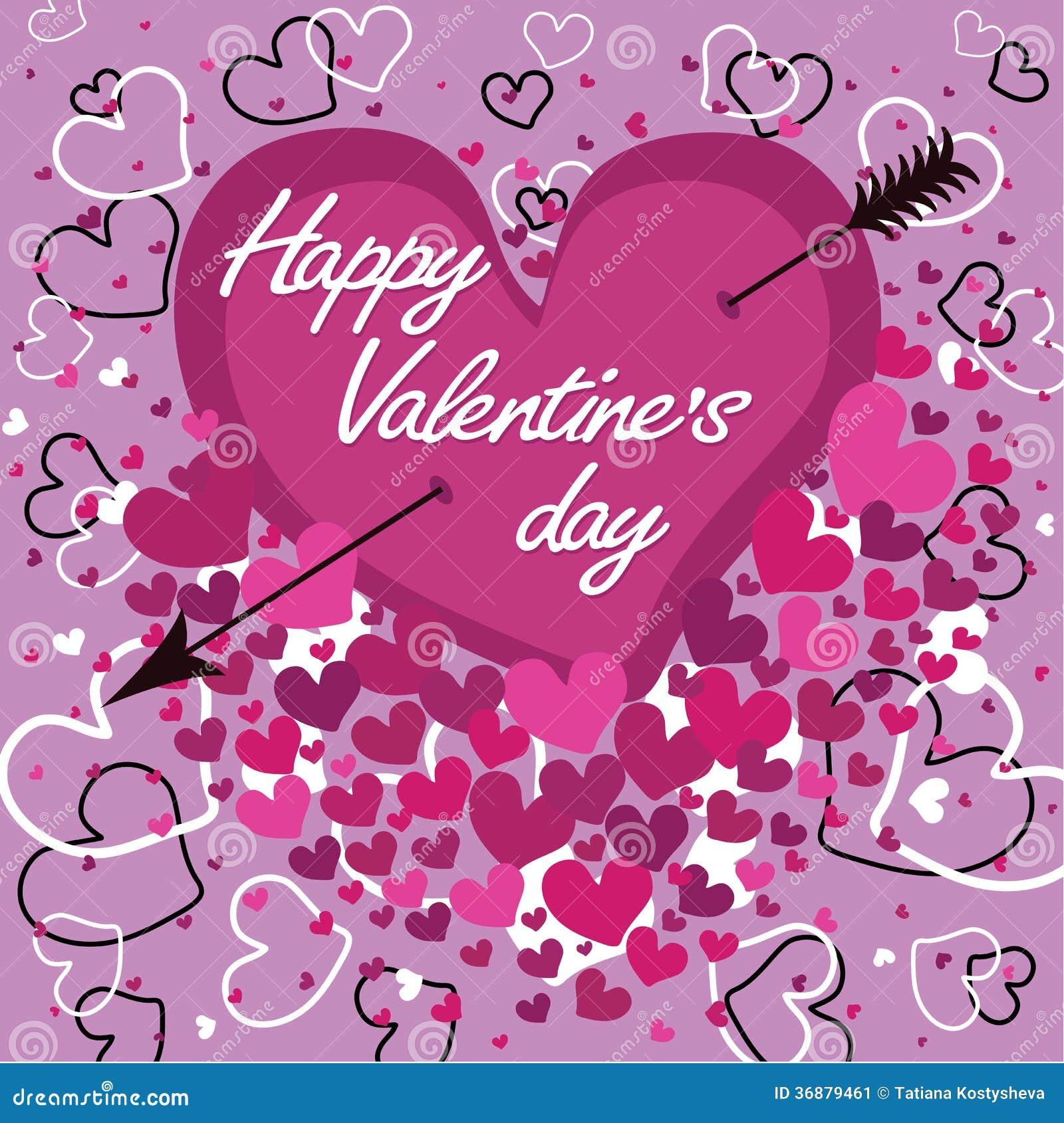Heart An Arrow Happy Valentines Day Vector Stock Vector