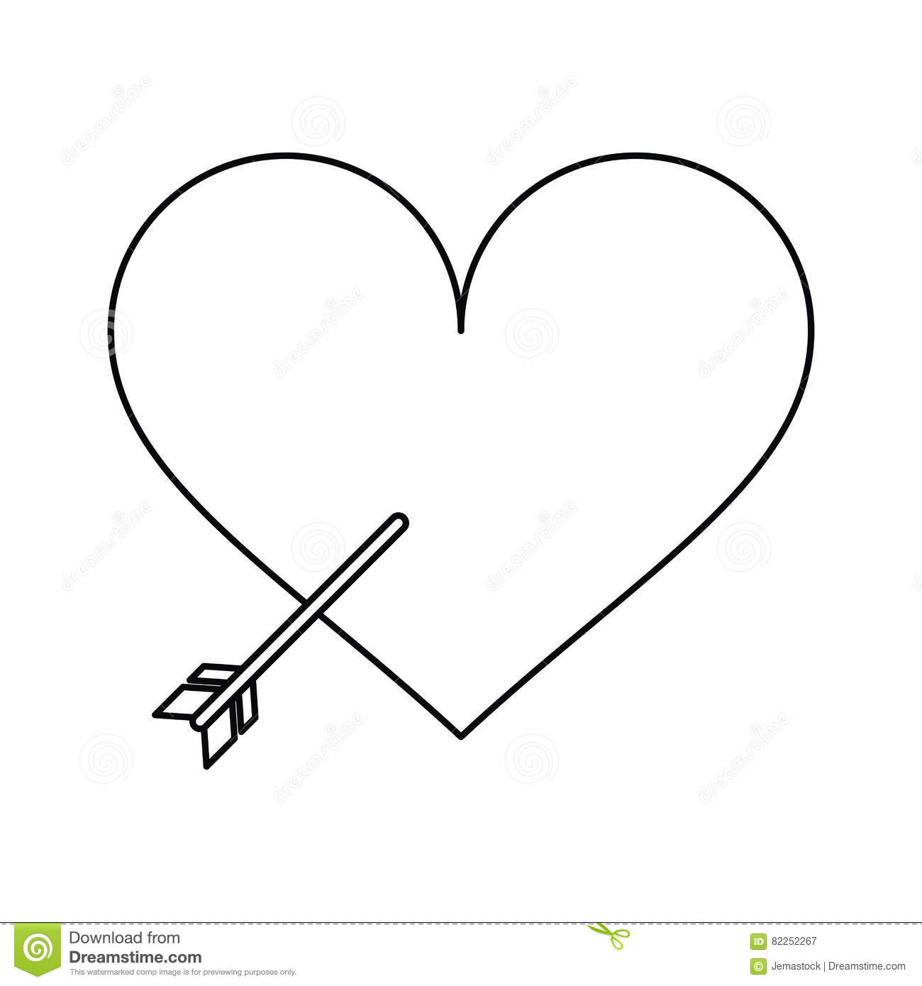 Heart with arrow love symbol outline stock vector illustration heart with arrow love symbol outline buycottarizona Image collections