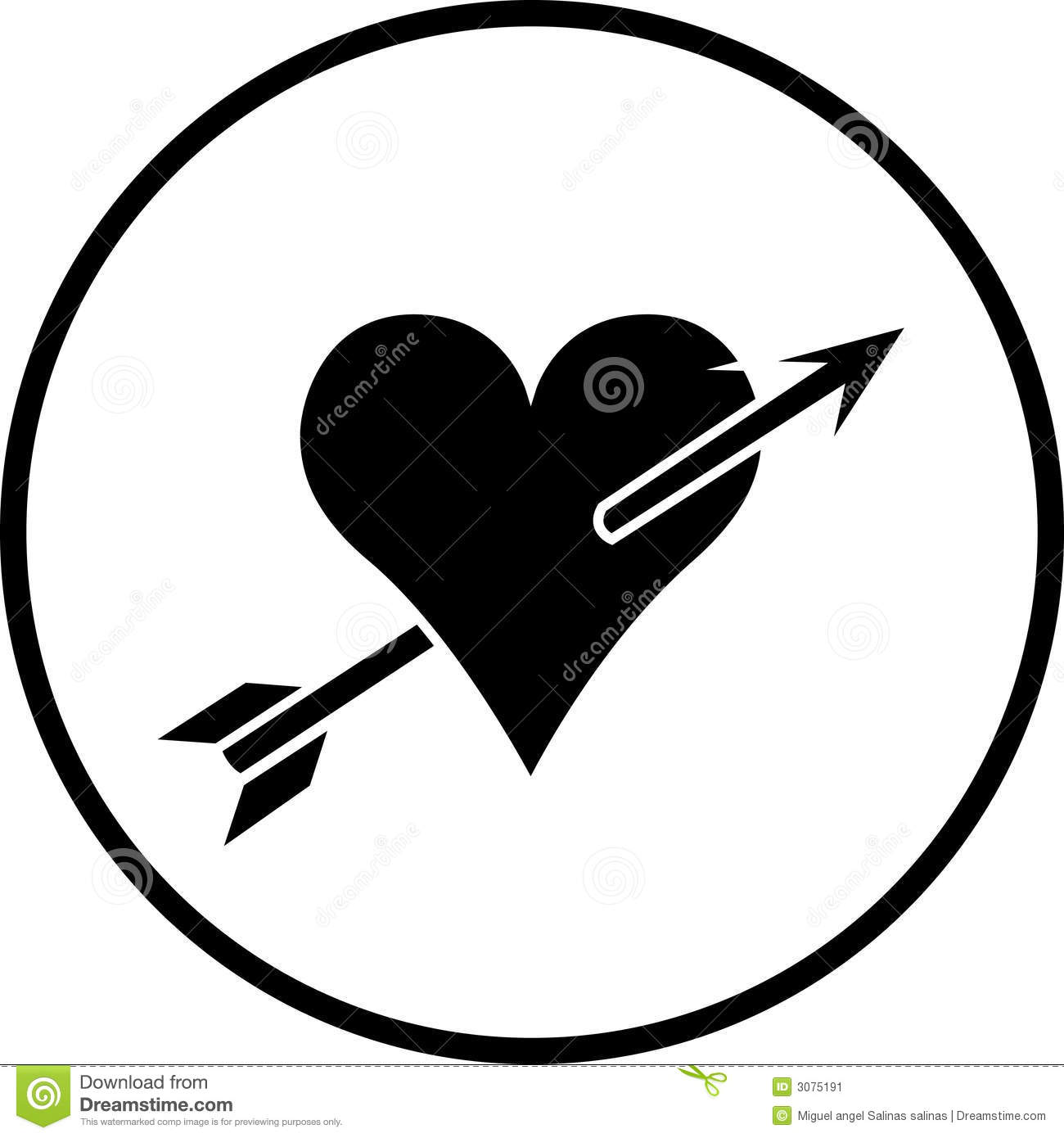 Heart With Arrow Vector Symbol Stock Image - Image: 3075191