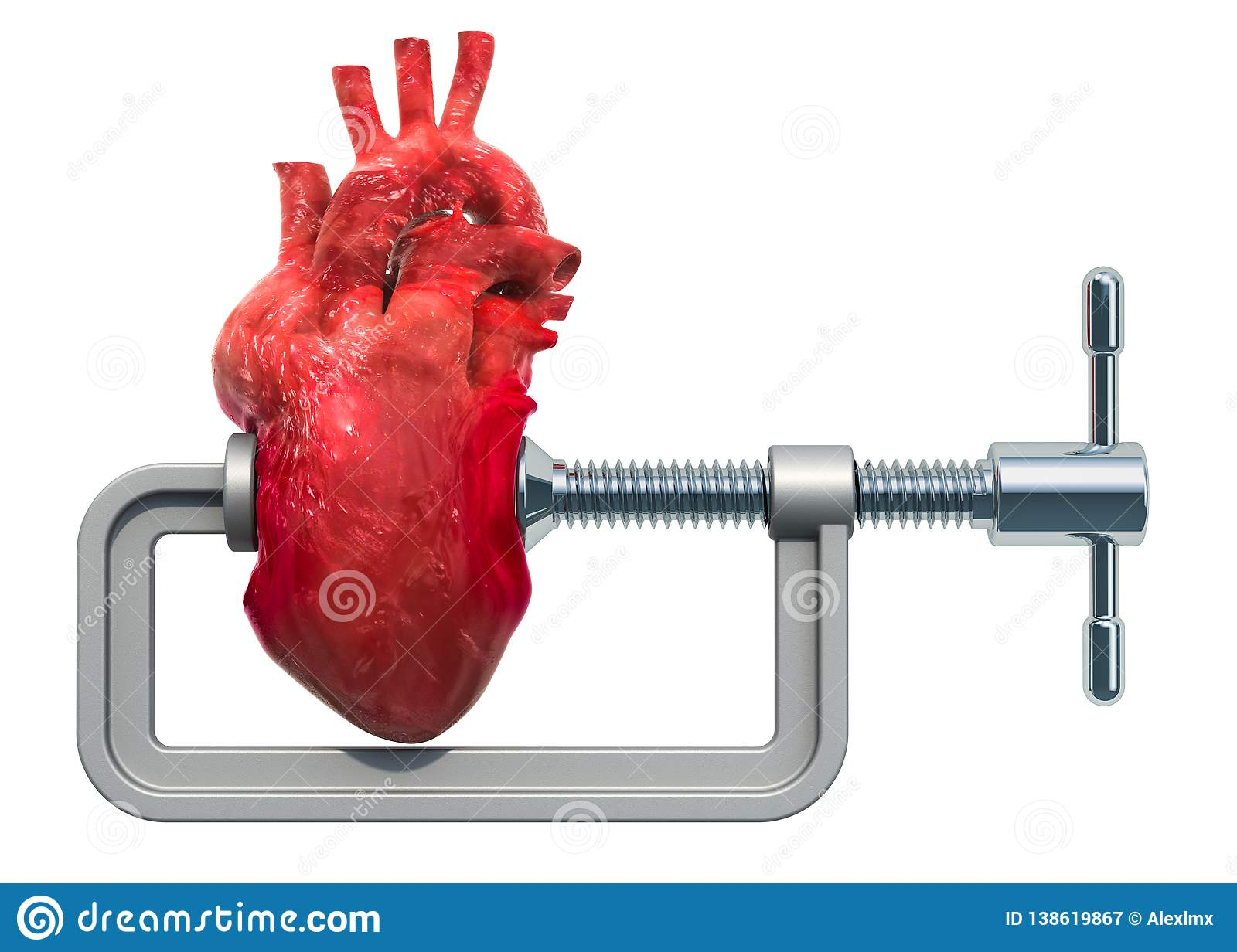 Heart attack, heart disease concept. Vise with human heart. 3D rendering