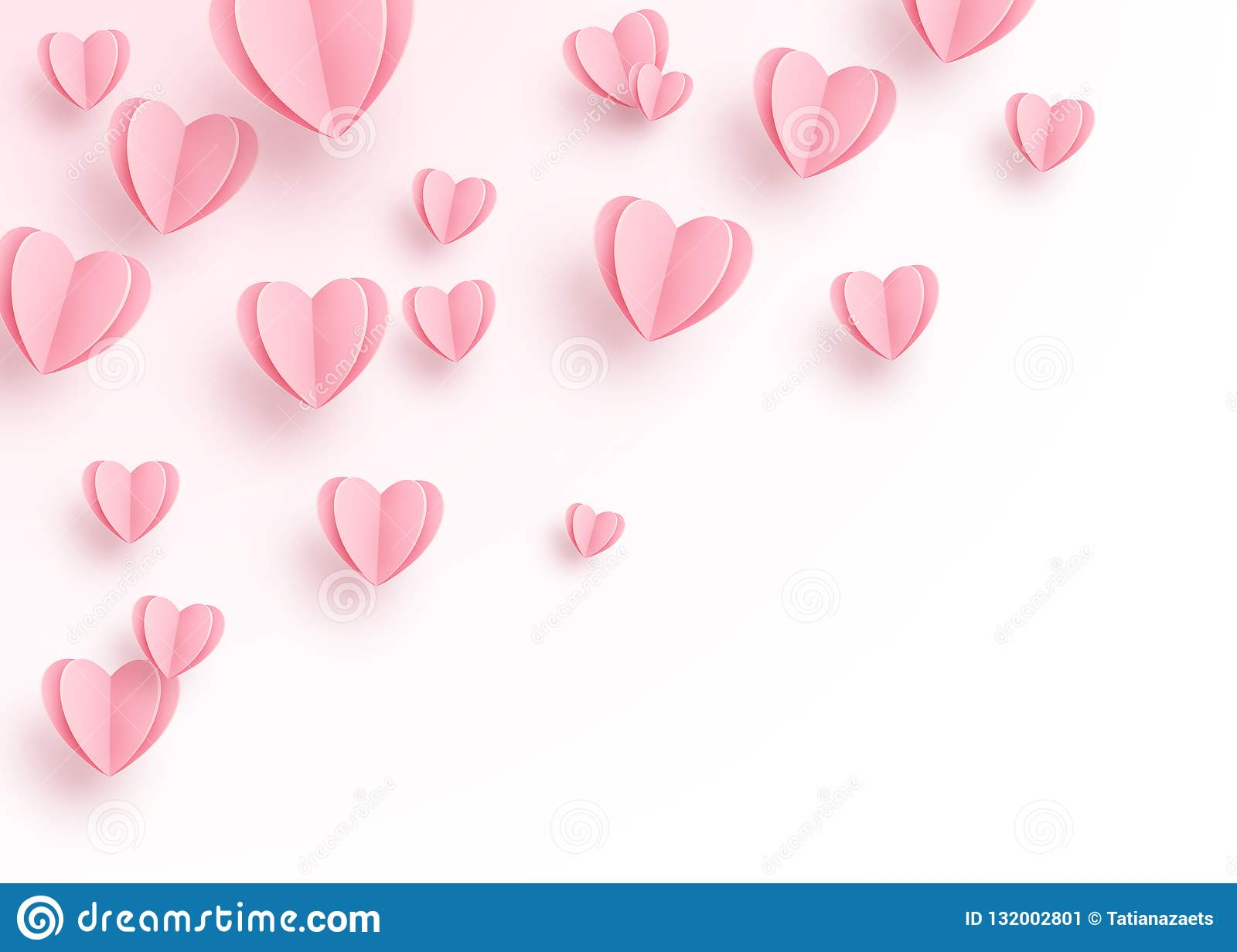 Heart Background With Light Pink Paper Cut Hearts. Love