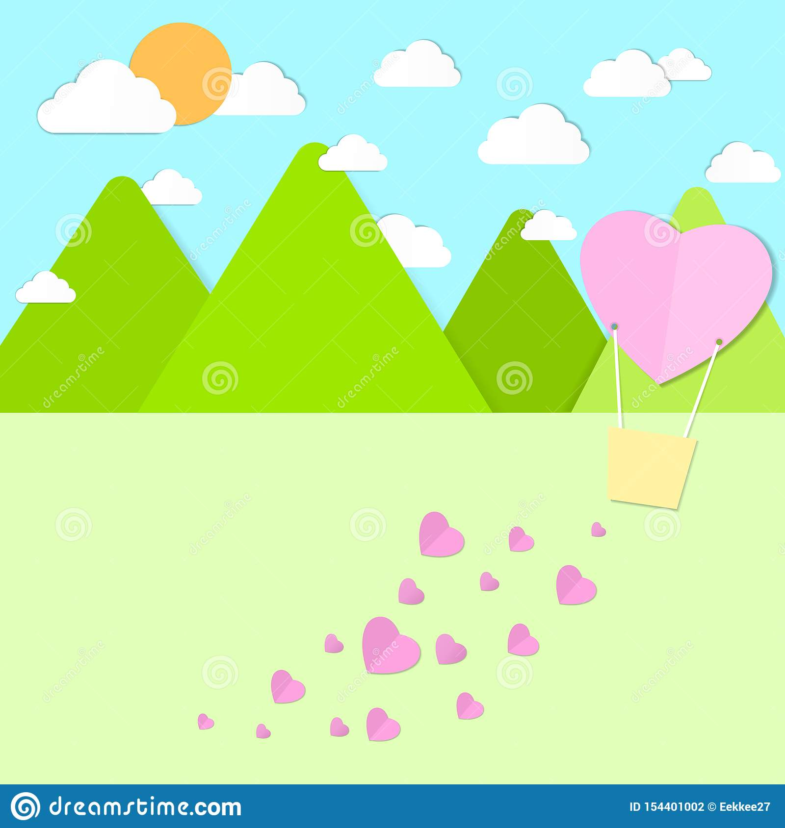 Heart balloon scatters the heart on a background of mountains, sky, clouds, sunlight, paper patterns.