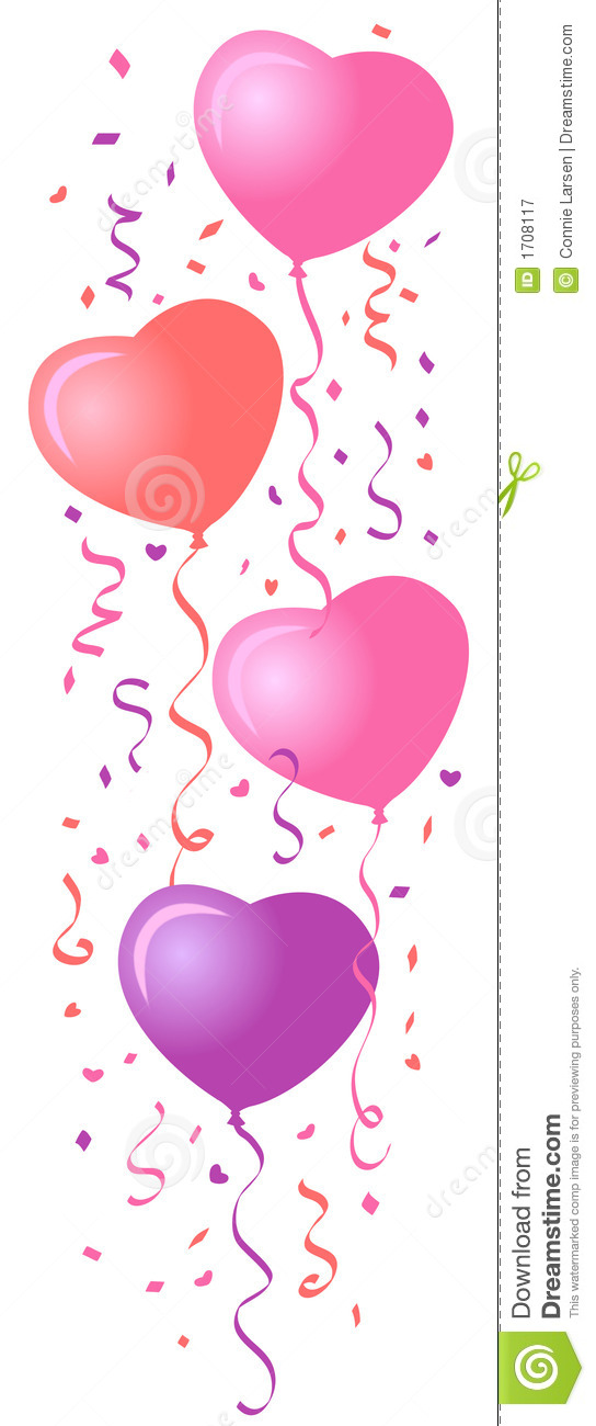 Heart Balloons & Confetti/eps Royalty Free Stock Photography