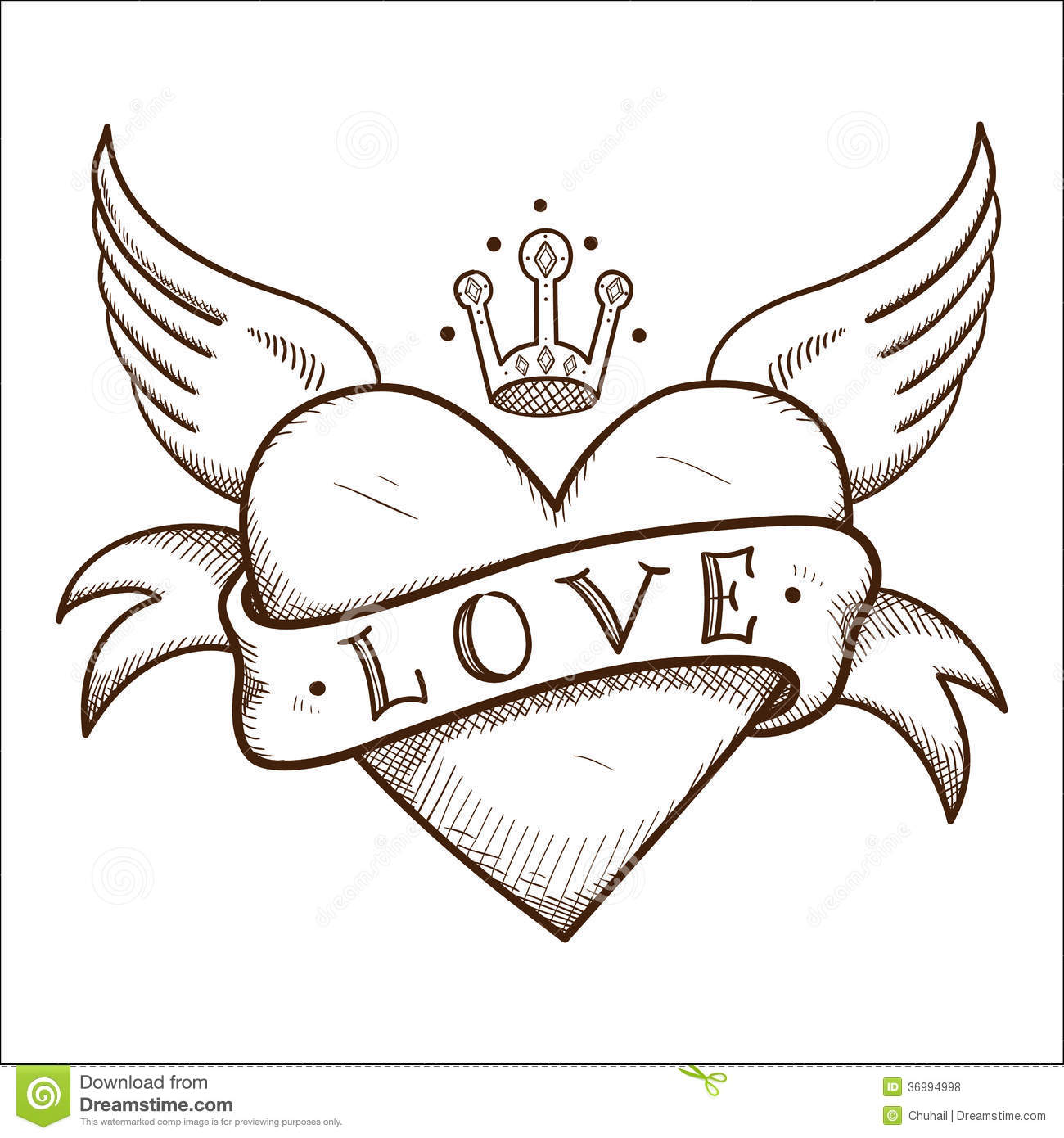 Heart With Banner And Crown Stock Vector