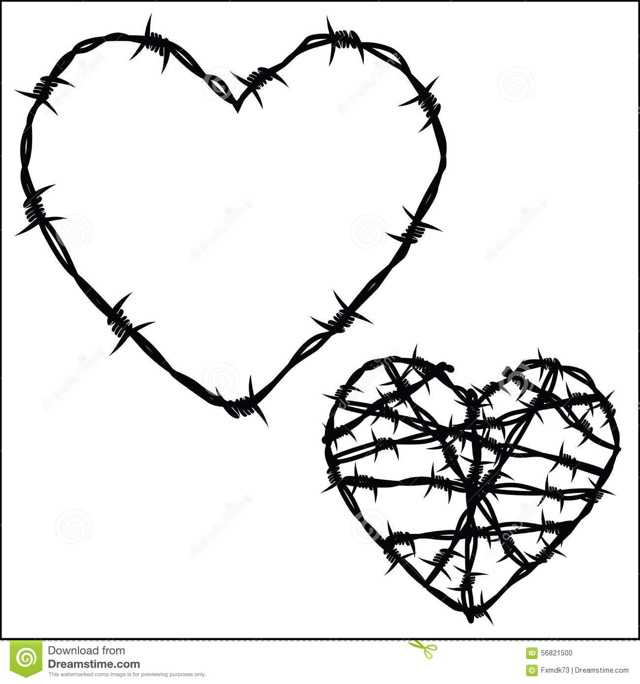 heart of barbed wire stock vector