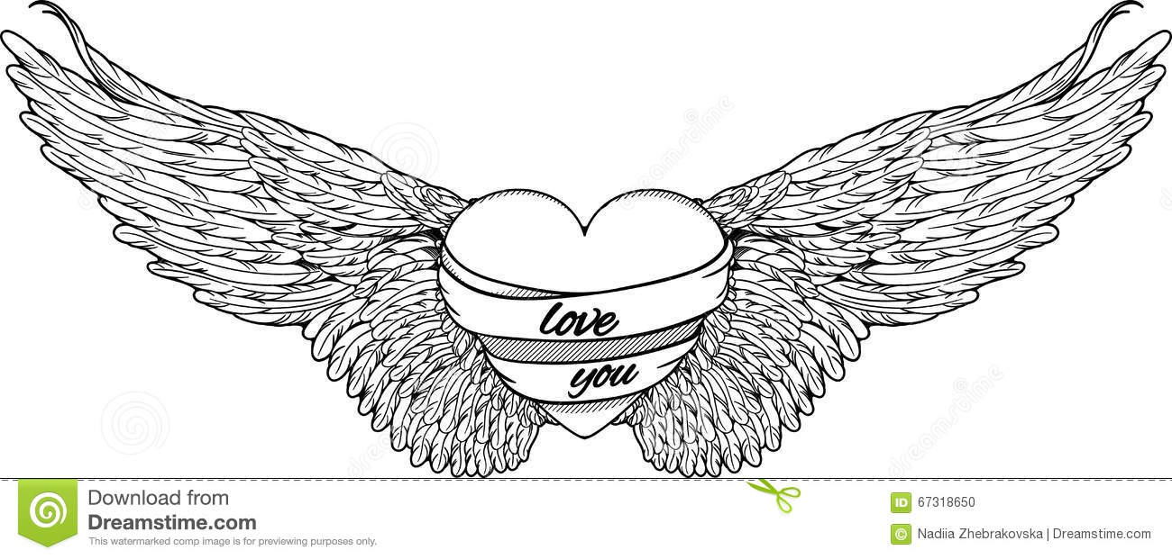 Heart With Big Wings. Black And White Stock Vector - Image ...