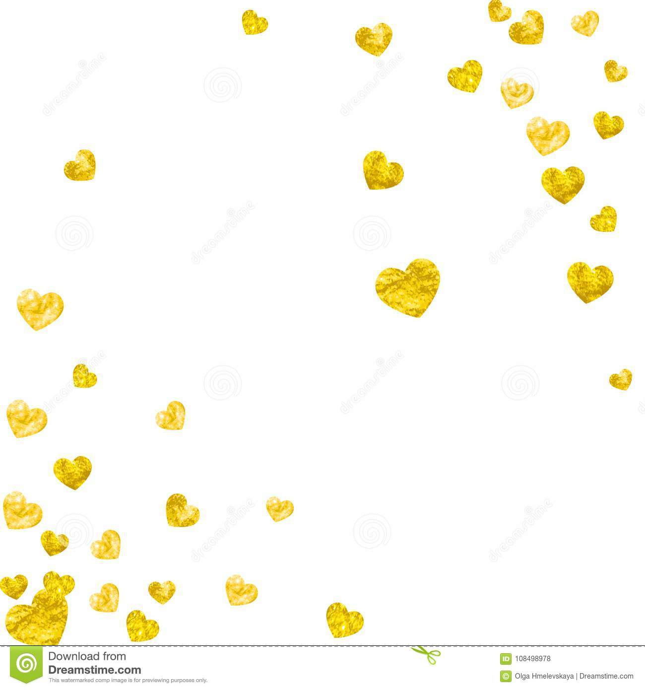 valentine background with gold glitter hearts february 14th day