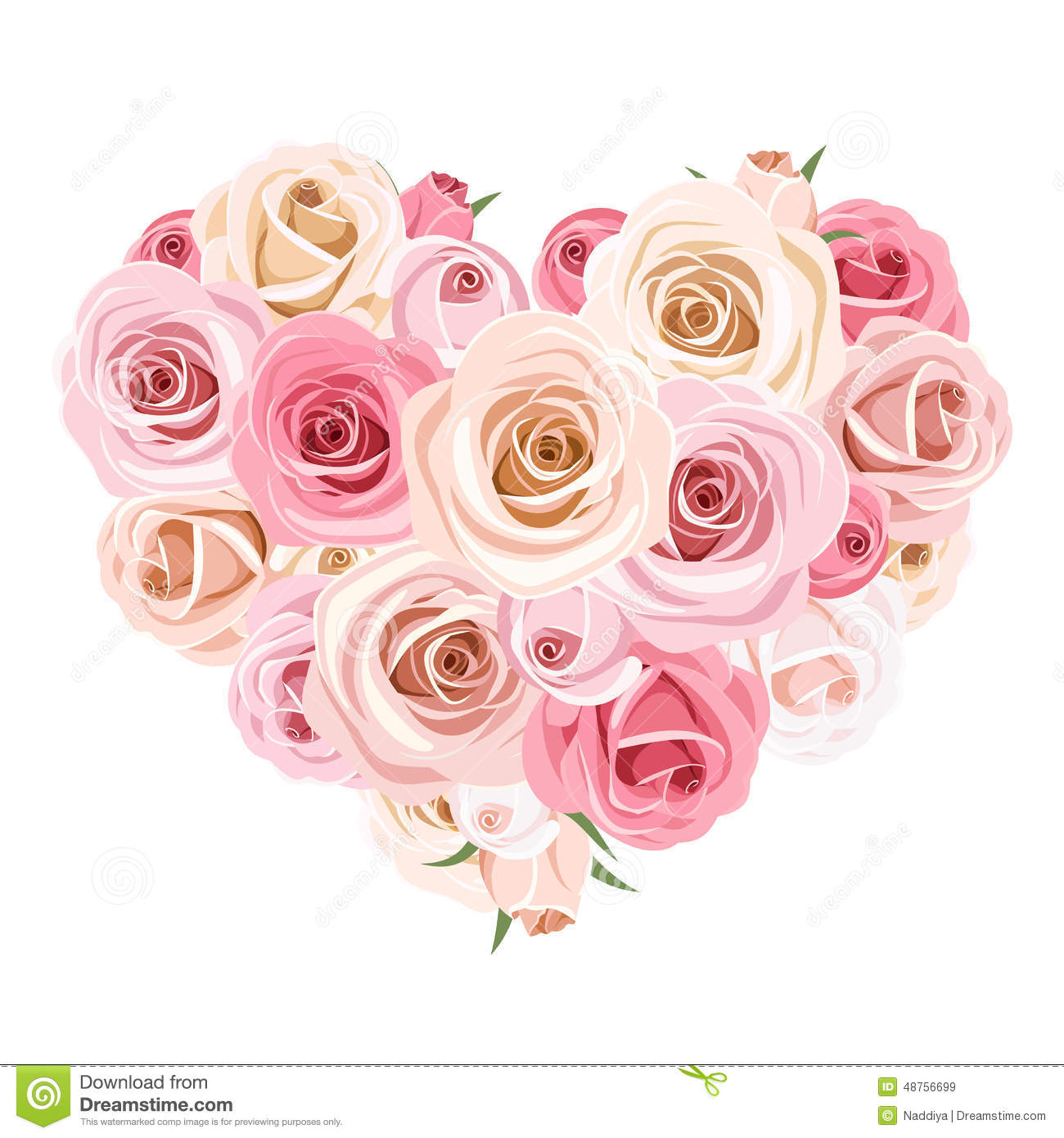Heart bouquet of pink roses vector illustration stock vector image 48756699