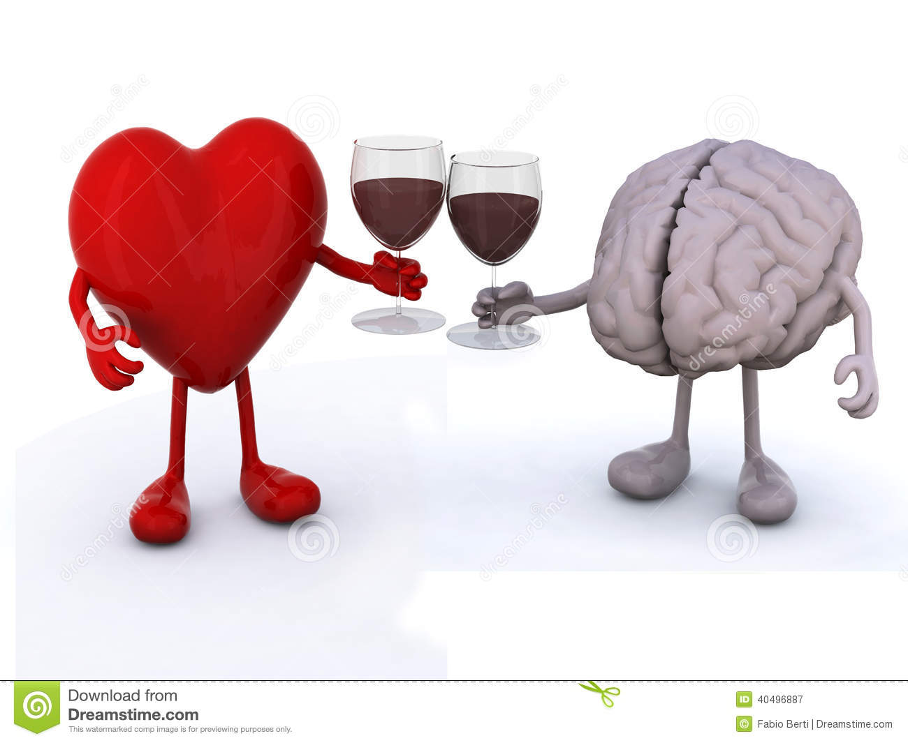 Heart And Brain With Glass Of Red Wine Stock Illustration - Image ...