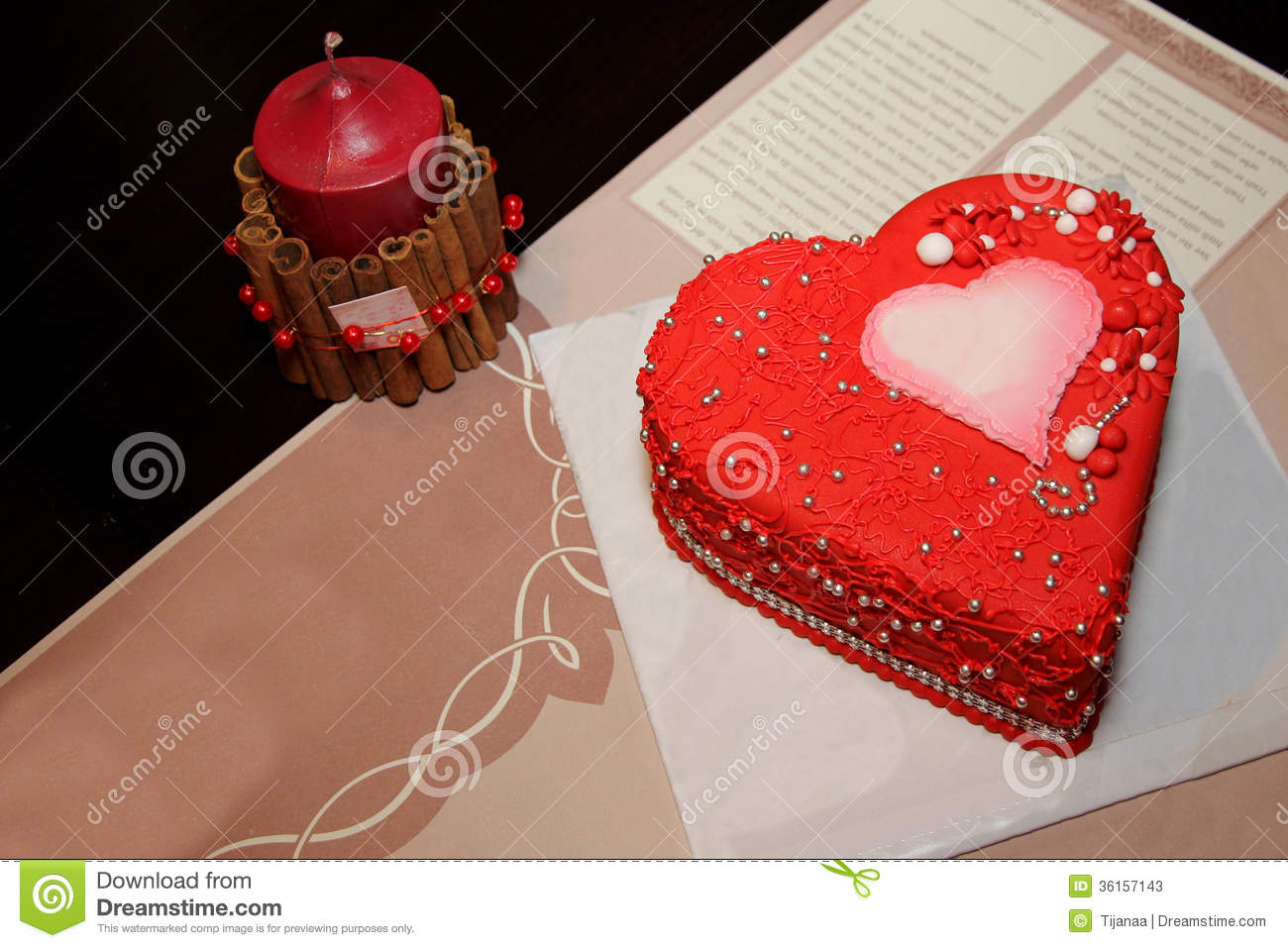 Heart Cake And Red Candles Stock Photos - Image: 36157143