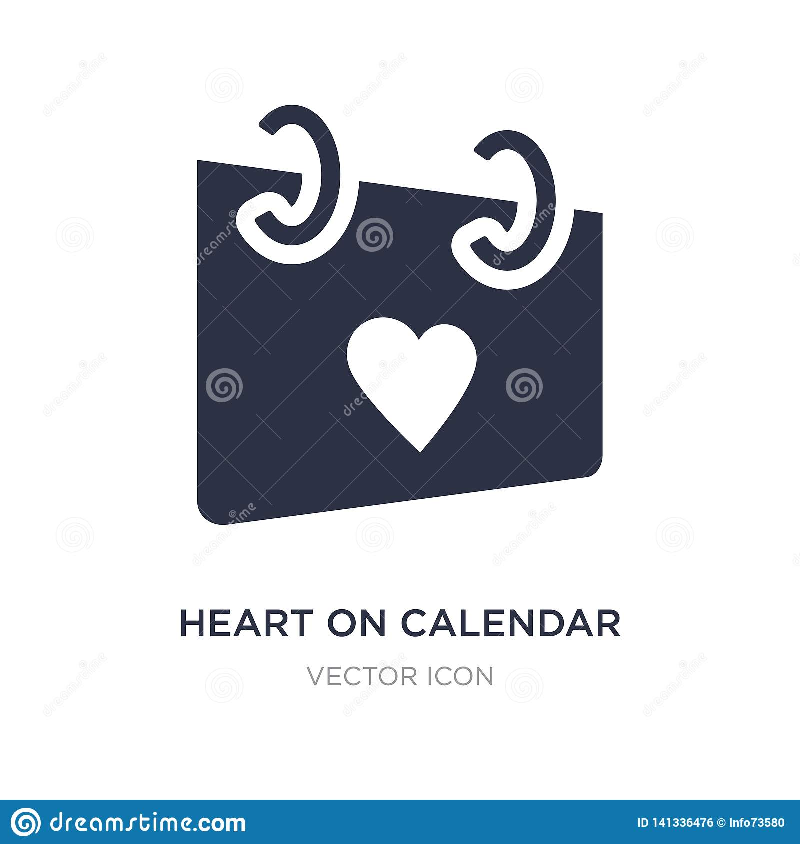 heart on calendar icon on white background. Simple element illustration from UI concept