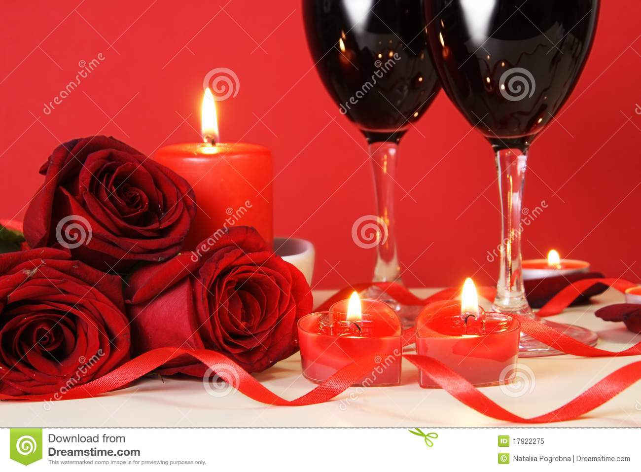 heart candles  red roses and wine royalty free stock photo