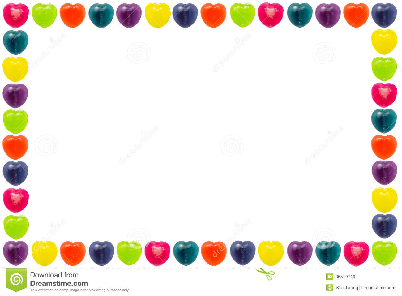 Heart shape confectionery is set as border or frame style on white ...