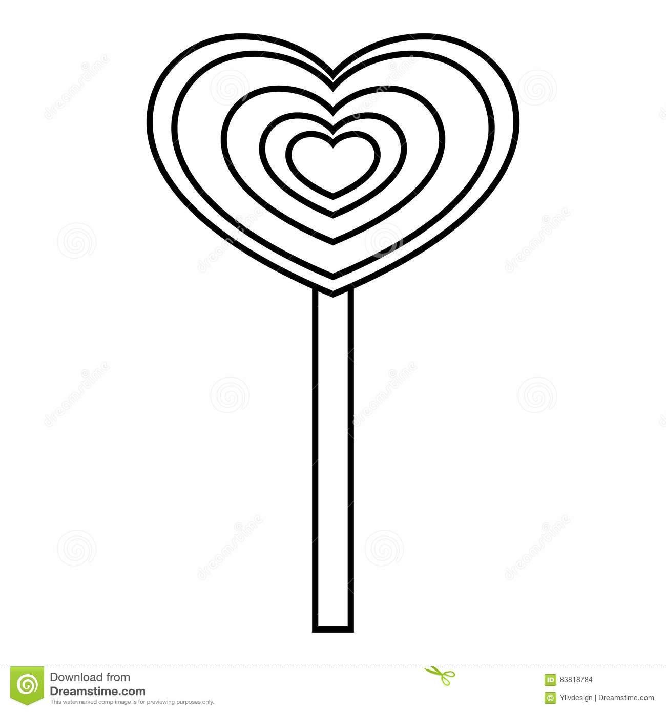Heart Candy Icon, Outline Style Stock Vector - Illustration of ... for Clipart Lollipop Black And White  555kxo