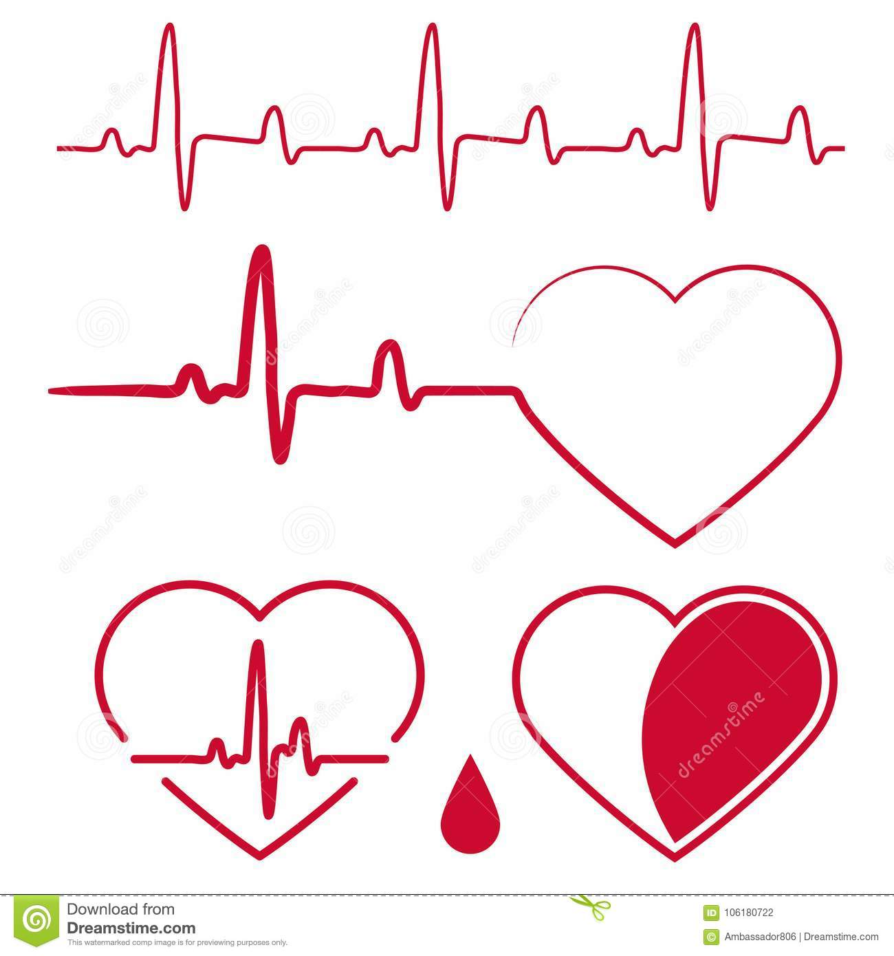Heart cardiogram waves,Heartbeat Graph Red sign, One line