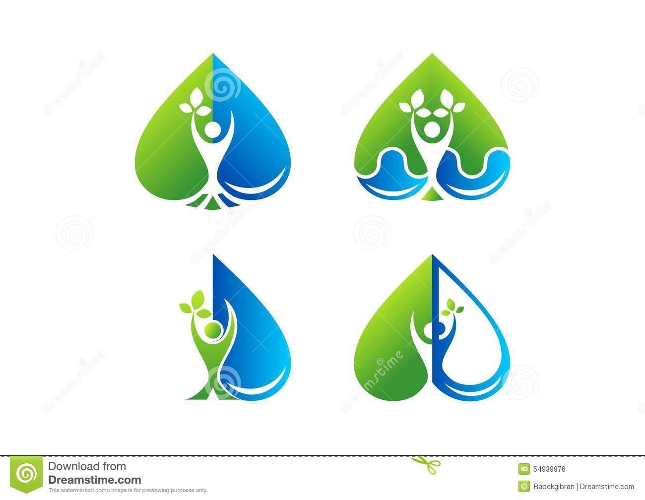 Wellness Logo Heart Water Drop Care Beauty Spa Health Plant