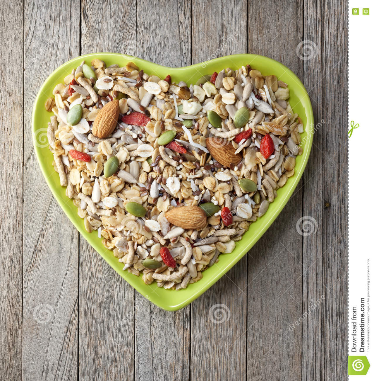 Heart Cereal Fruit Granola Muesli Bowl Stock Photo - Image: 76820274