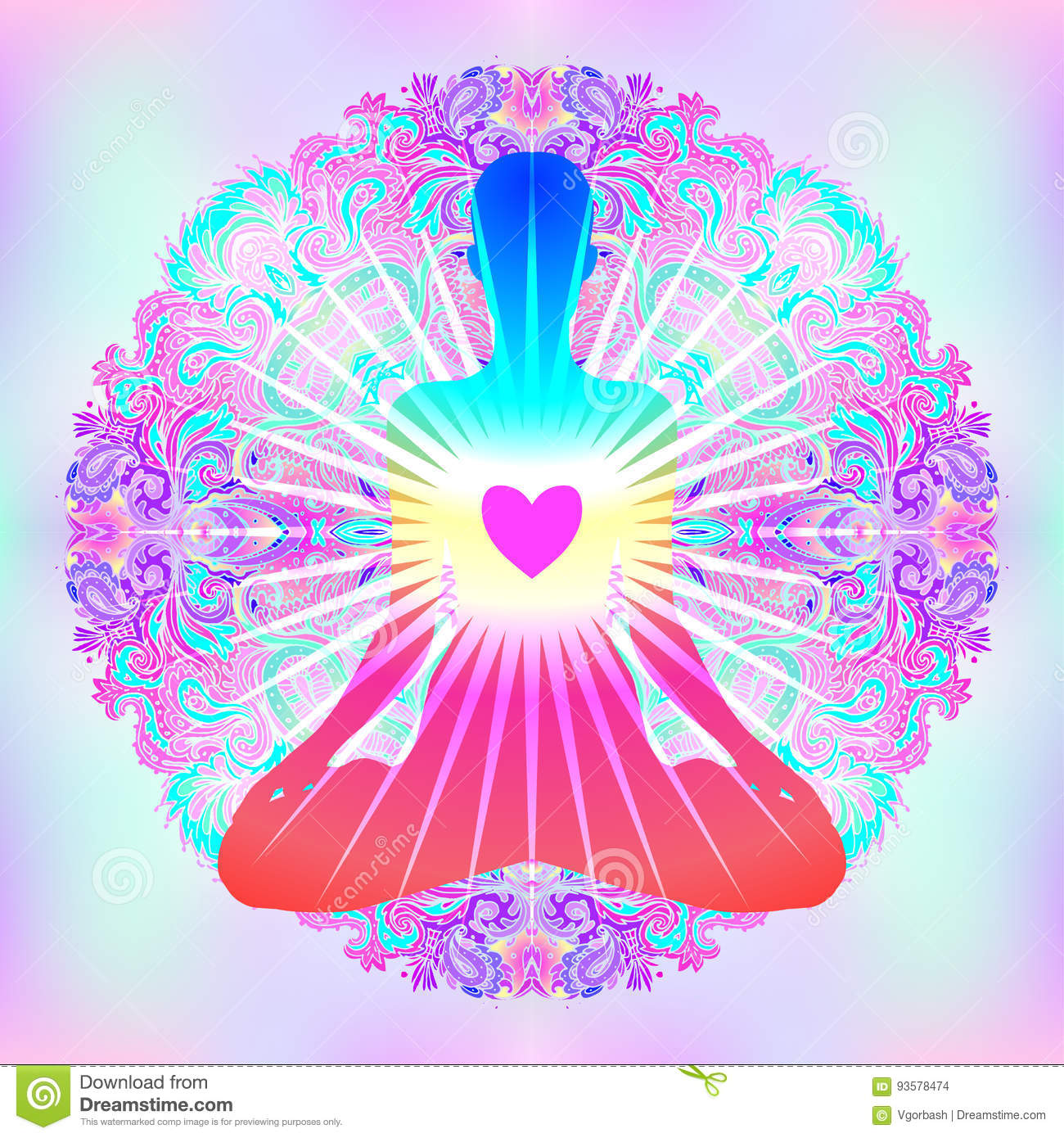 heart chakra concept inner love light peace silhouette lotus position over colorful ornate mandala vector illustration 93578474 heart chakra concept inner love, light and peace silhouette in