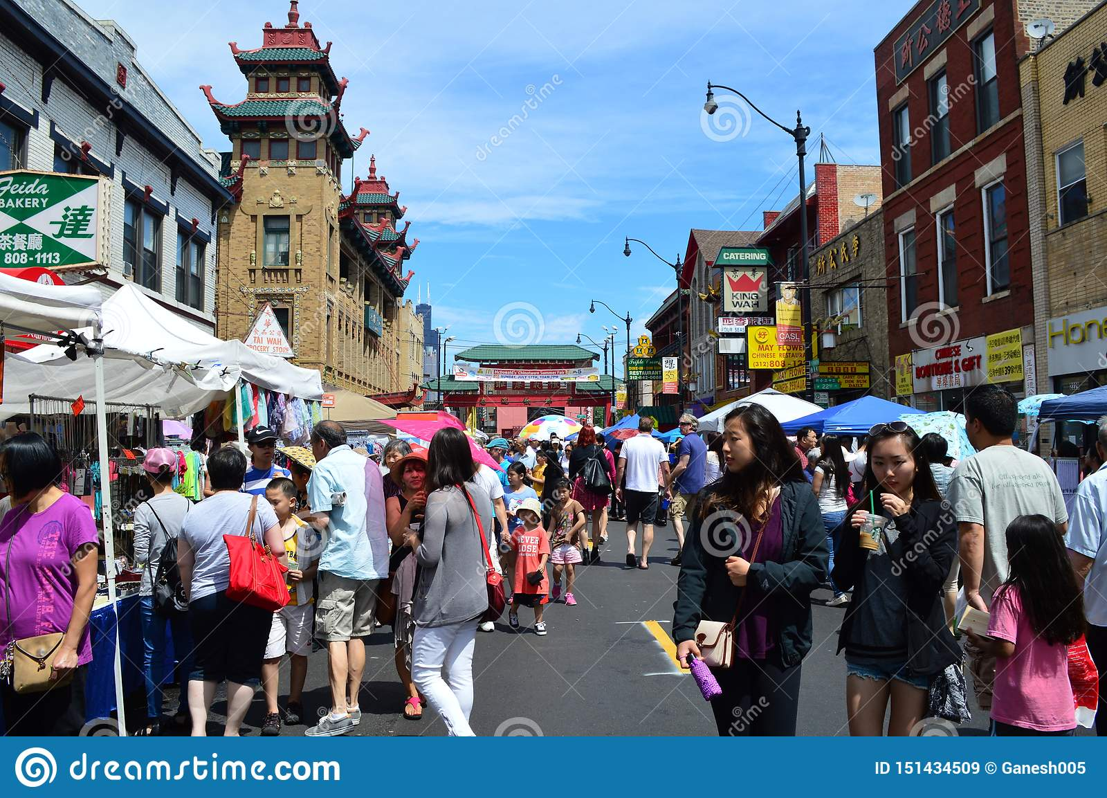 Mass Tourists at China Town in Chicago Illinois