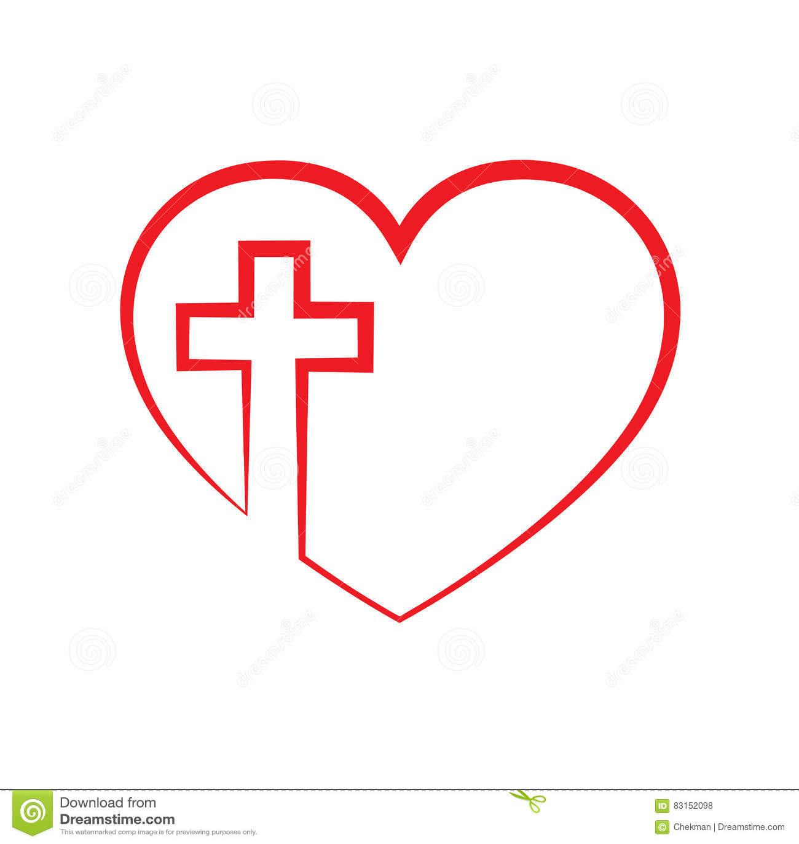 heart with christian cross inside vector illustration
