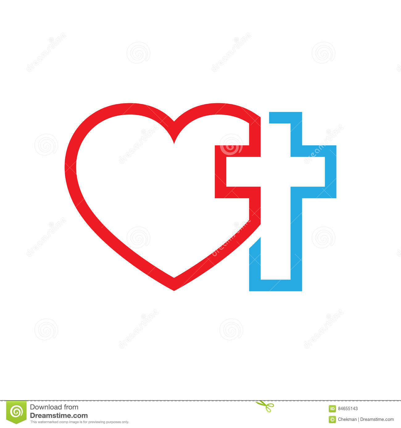 Heart And Christian Cross Vector Illustration Stock Illustration