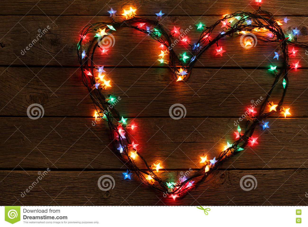 quality design 1092e 5240d Heart From Christmas Lights On Wood Background Stock Image ...