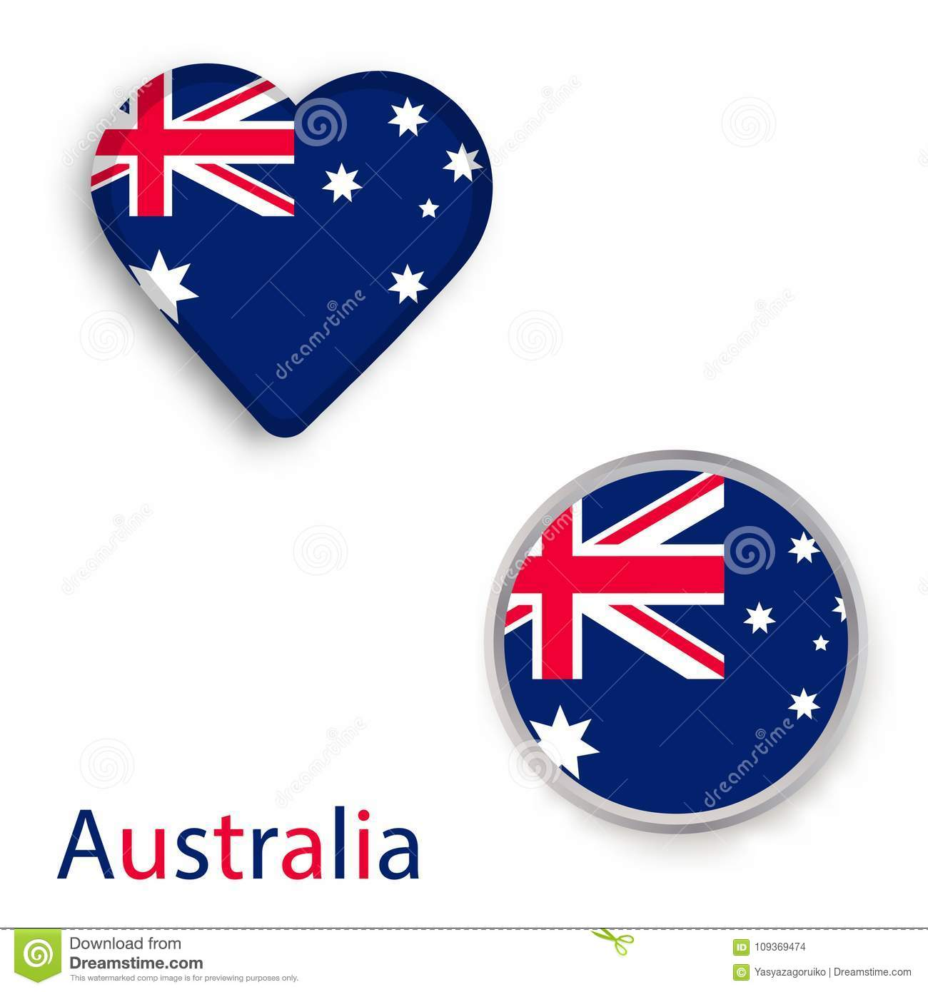 Heart And Circle Symbols With Flag Of Australia Stock Vector