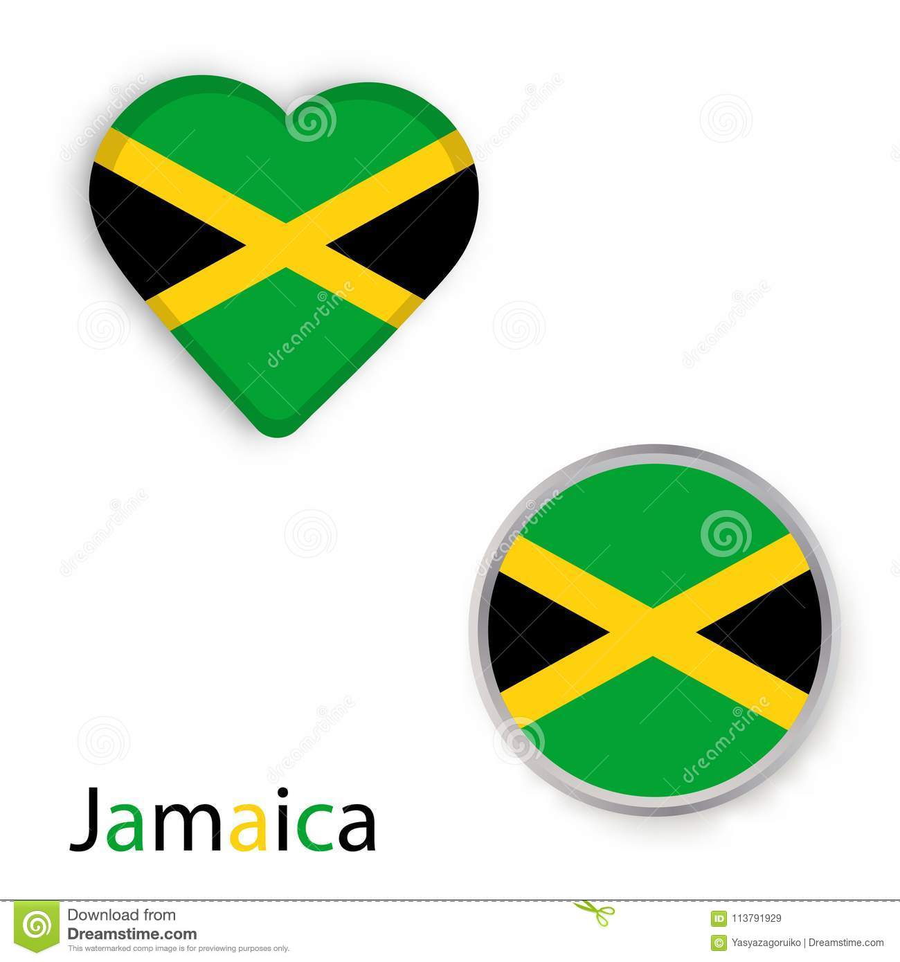Heart And Circle Symbols With Flag Of Jamaica Stock Illustration
