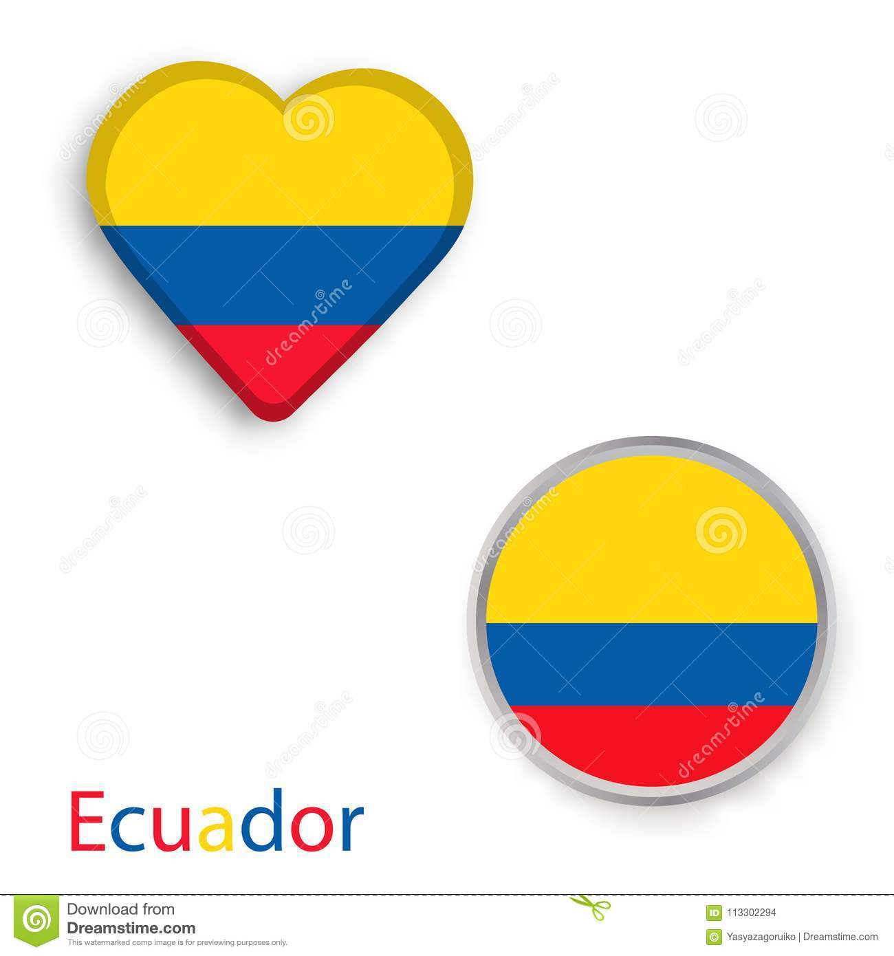 Heart And Circle Symbols With Flag Of Republic Of Ecuador Stock