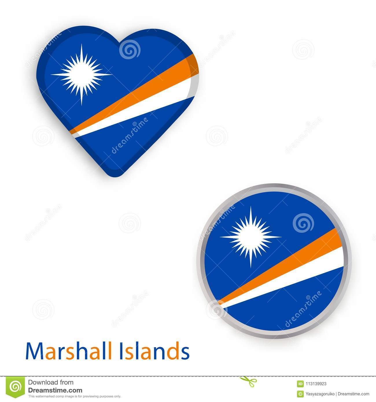 Heart And Circle Symbols With Flag Of Republic Of The Marshall I