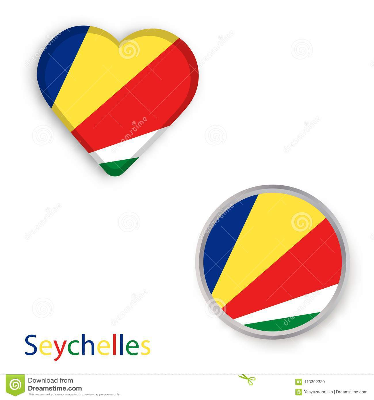 Heart And Circle Symbols With Flag Of Republic Of Seychelles Stock
